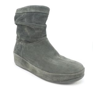 Fit Flop Green Suede Slouchy Wobbleboard Boots